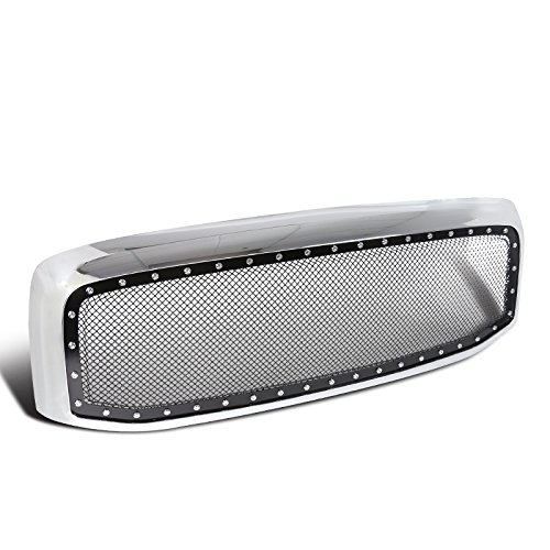 Dodge Ram 1500 2500 3500 Chrome Rivet Style SS Wire Mesh Grille+Shell