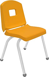 """product image for Creative Colors 1-Pack 16"""" Kids Preschool Stackable Split Bucket Chair in Yellow with Platinum Silver Frame and Ball Glide"""