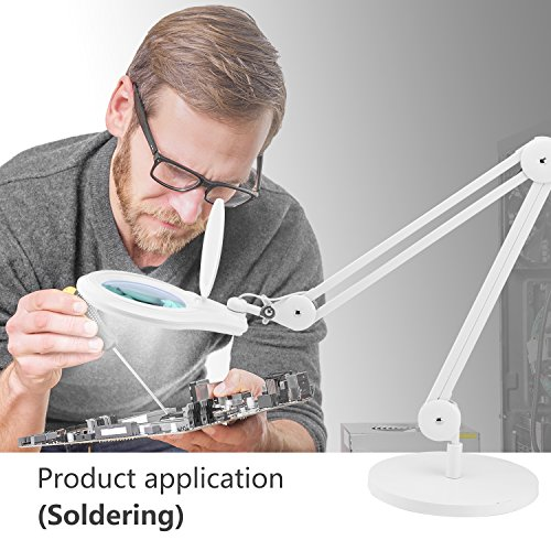 LED Magnifying Lamp, NexTrend CFL Swing-Arm 5in led Magnifier 5X Lens Super Led Light Task Lamp Magnifier Light for Reading Inspection Repairing Handcraft Crafts Needlework Hobbies with Desk-On Base by NexTrend (Image #5)