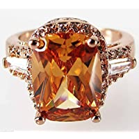 pimchanok Size 7,8,9,10 Womans Champagne Topaz White Topaz 10KT Rose Gold Filled Ring (8)
