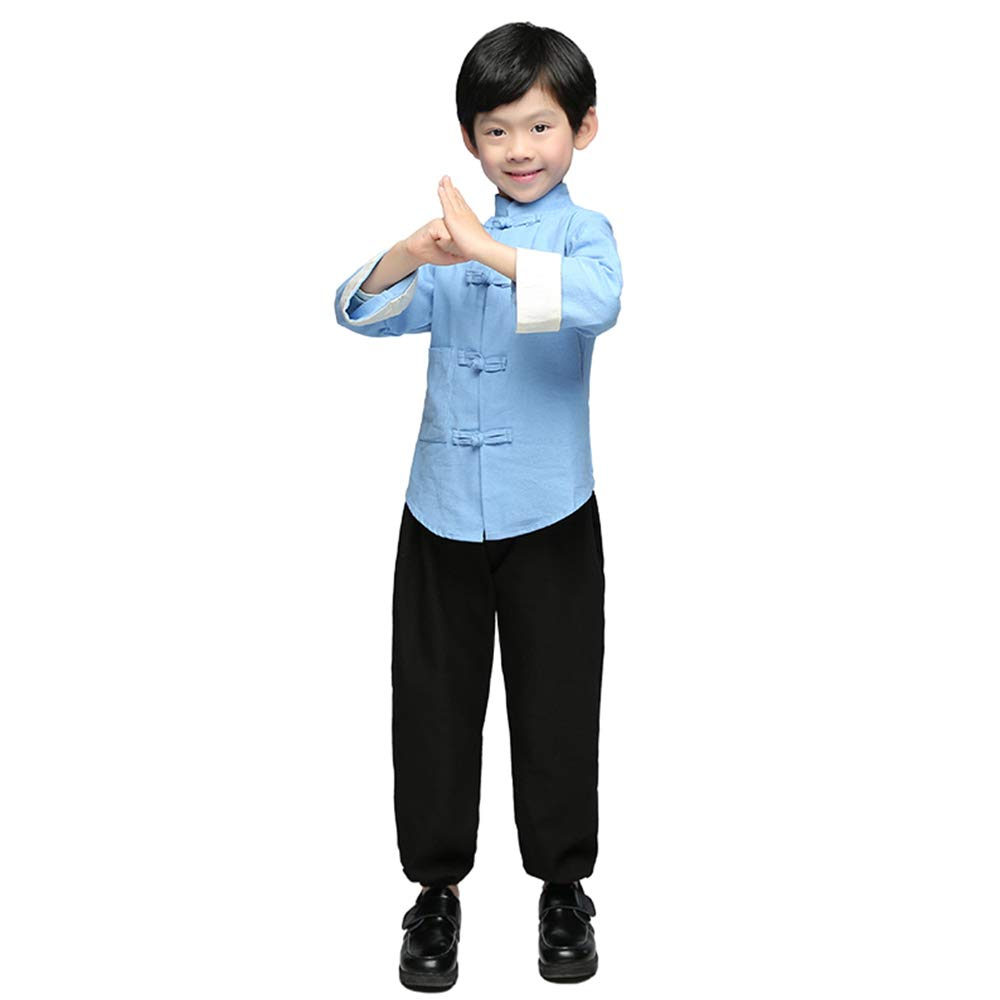 FXNN Republic of China Clothing - Chinese Costumes, Costumes, Fashion, Cotton, National Customs (Color : Light Blue, Size : 120cm)