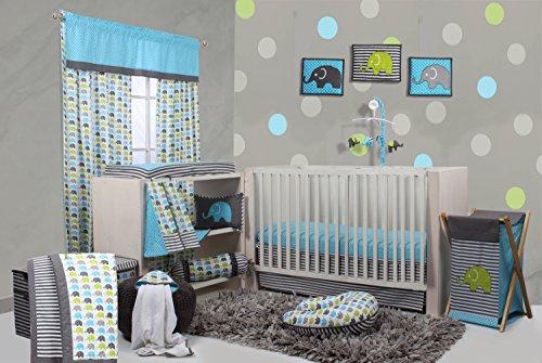 Bacati Elephants Crib Set Without Bumper Pad, Aqua/Lime/Grey