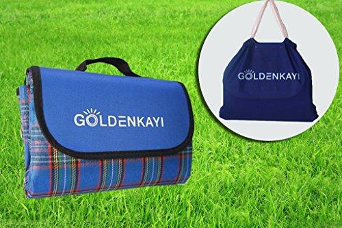 GOLDENKAYI Picnic Blanket Mat Beach Camping Extra Large Waterproof Sand Proof 78 X78 200x200cm for Kids,Children,Picnic,BBQ,Beach Game Blue