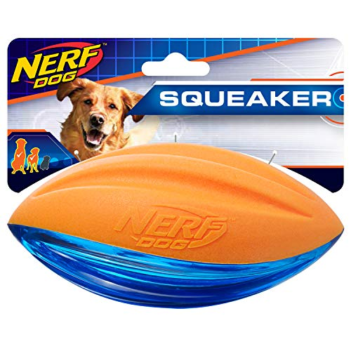 Nerf Dog 6in TPR/Foam Squeak Football: Blue/Orange, Dog Toy