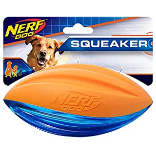 Nerf Dog Rubber Football Dog Toy with Interactive Squeaker, Lightweight, Durable and Water Resistant, 6 Inches, for Medium/Large Breeds, Single Unit, Blue and Orange