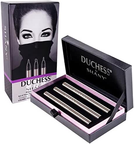 SHANY Duchess 3 Piece Waterproof Liquid Eyeliners with Paraben-free Formula and Aloe Vera Precision Collection, Black, 0.45 Pound