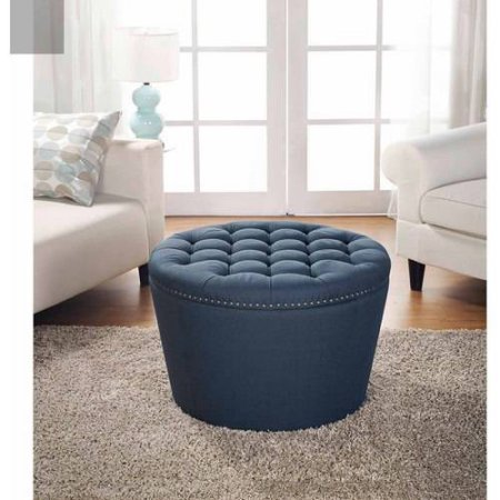 Stylish and Functional Better Homes and Gardens Round Tufted Storage Ottoman with Nailheads - (Navy)