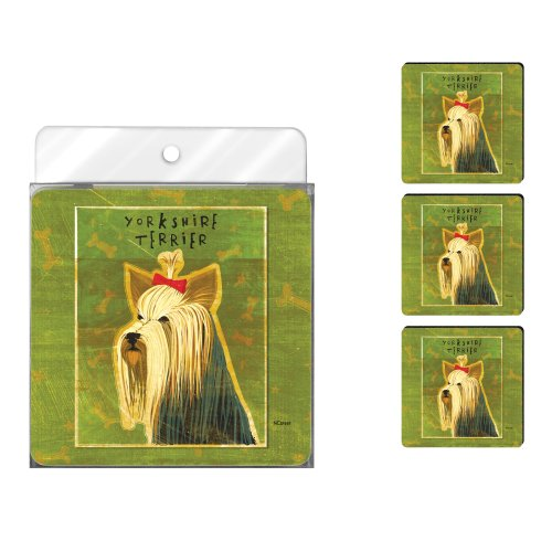 Tree-Free Greetings NC37993 John W. Golden 4-Pack Artful Coaster Set, Yorkshire - Terrier Coaster Yorkshire