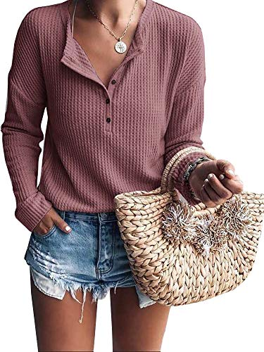 Womens Henley Shirts V Neck Long Sleeve Button Down Tops Knit Tees