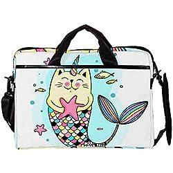 LLNSUPPLY portafolios Ligero para portátil de 15 Pulgadas con diseño de Gato y Sirena, con Bolsa de Pescado, Funda para computadora, Tablet, Bolso de Hombro, Bolso de Mano, para Hombres y Mujeres