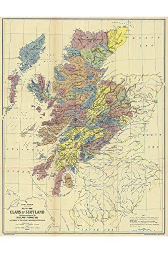 Clans of Scotland Historical Map Reproduction | Clan Locations & Principal Landowner Land Area of 1587-1594 | Published in 1899 | Made to Order | 24 X 36