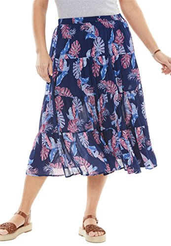 Women's Plus Size Crinkle Skirt Evening Blue Banana Leaf,22/24