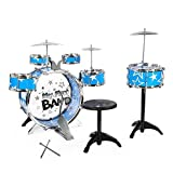 BISZOER Jazz Drum Set, Kids Drums Kit Toy 12 Piece Kids 6 Cymbal, Chair, Kick Pedal, 2 Drumsticks, Stool - Little Rockstar Kit to Stimulating Children's For Kids Christmas Birthday Gift (Blue)