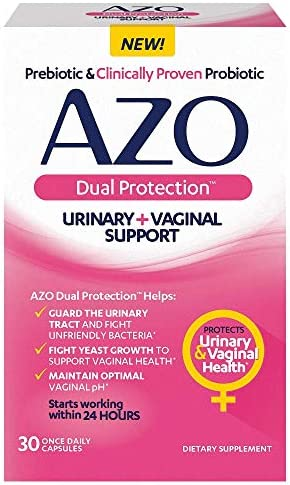 AZO Dual Protection | Urinary + Vaginal Support* | Prebiotic Plus Clinically Proven Women's Probiotic | Starts Working Within 24 Hours | 30 Count, Multi