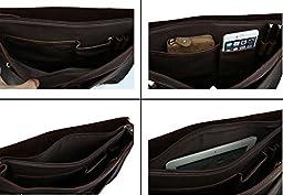 Men Vintage Genuine Leather Laptop Briefcase Retro Shoulder Bag Professional Messenger Bag