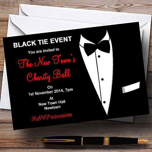 Red & White Black Tie Tuxedo Personalized Party Invitations