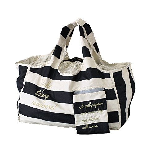SPICE OF LIFE Go Green Eco Bag - Black/White Stripes - Reusable Grocery Tote, Shoulder Shopping Purse ()