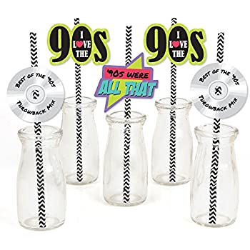 Amazon com: 90's Throwback - Paper Straw Decor - 1990s Party Striped