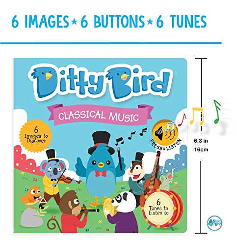 OUR BEST INTERACTIVE CLASSICAL MUSIC SOUND BOOK for BABIES with Melodies Mozart Beethoven. Educational Toys ages 1-3. Baby Books for one year old. Toddler Musical Book. 1 year old boy girl gifts. by Ditty Bird (Image #1)