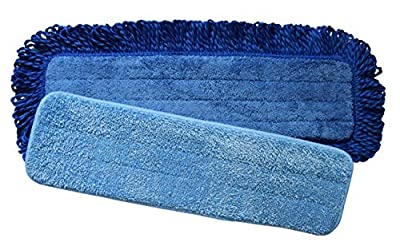 Microfiber Mop Pad Refill Combo 2 Pack | 18 Inch Fringed Dry Dust Mop Pad and 18 inch Wet or Dry Microfiber Pad | Fits Any 18 inch Velcro Style Flat Mop | Washable and Reusable Mop Pads