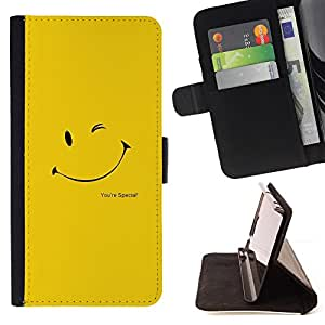 - CUTE YELLOW SMILEY FACE - - Prima caja de la PU billetera de cuero con ranuras para tarjetas, efectivo desmontable correa para l Funny HouseFOR Apple Iphone 5C