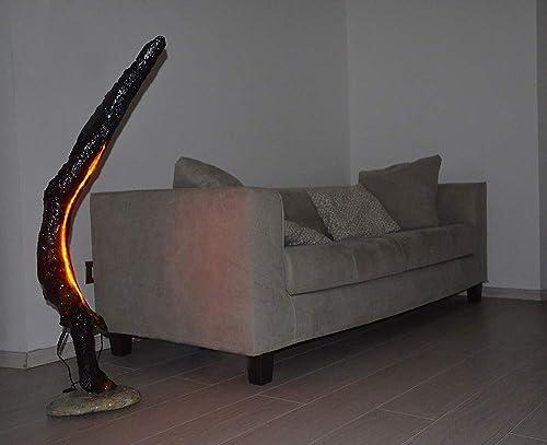 Lámpara de pie en madera recuperada negro oscuro moderna ...