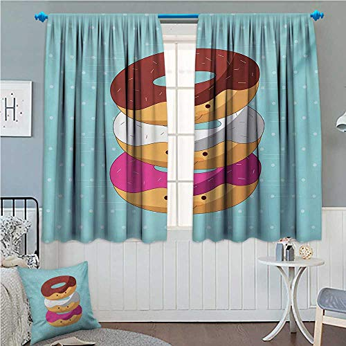 """zojihouse Anime Kawaii Cartoon Style Colorful Donuts with Funny and Cute Faces on Blue Background Multicolor 72""""x84"""" from zojihouse"""