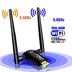 💗Driver download link:http://bit.ly/2HnFKq9  or https://www.usbnovel.com/product/1200mbps-usb-wifi-adapter/✅Contact us: If you have any questions or issues ,Welcome to contact us by Amazon message or send mail to support@usbnovel.com1200Mbps ...
