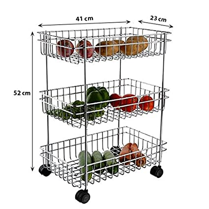 IASPRODUCT Stainless Steel Vegetable & Fruit Stand and Trolley - 3 Rack