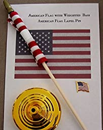 American Flag 4x6 Inch with Weighted Base and Flag Lapel Pin Bundle