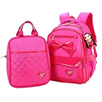 Fanci 2Pcs Bowknot Waterproof Nylon Elementary School Bookbag for Girls Primary School Backpack Set with Lunch Kit