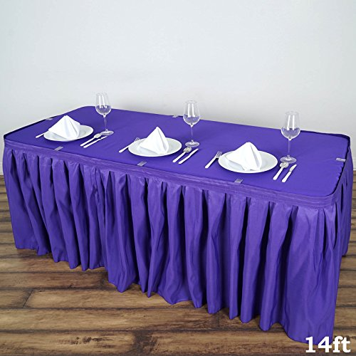 (BalsaCircle 14 feet x 29-Inch Purple Polyester Banquet Table Skirt Linens Wedding Party Events Decorations Kitchen Dining Catering)