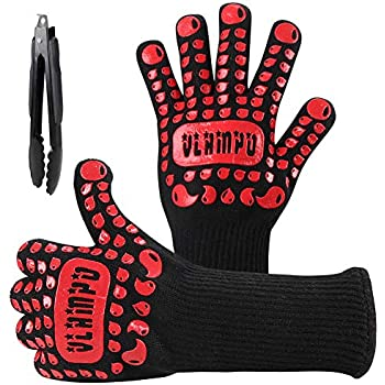 Vlampo BBQ Gloves Heat Resistant Grill Gloves XL for Men, 1472°F Kitchen Oven Mitts for Baking, Silicone Non-Slip Large Cooking Gloves for Hot Food Grilling Barbecue Smoker Campfire 14