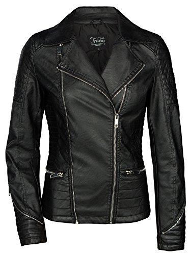 trisens Biker courte veste en cuir femme veste de moto en cuir synthtique Noir Argent Noir - Noir