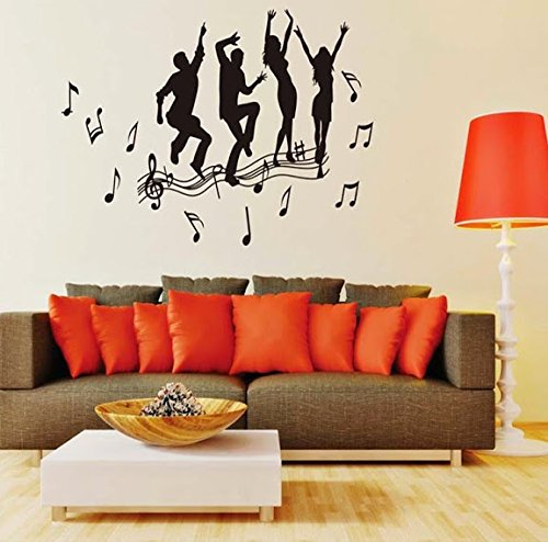 Syga 'Black Dance Music Notes' Wall Sticker (PVC Vinyl, 61 cm x 5 cm x 5 cm, Black) Wall Stickers at amazon