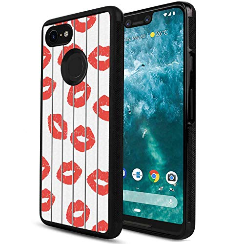 (Case for Google Pixel 3 XL (2018) 6.3inch Glamour Sexy Woman Lips Behind The Bars Female Love Romance Valentines Day Print Scarlet Grey White )