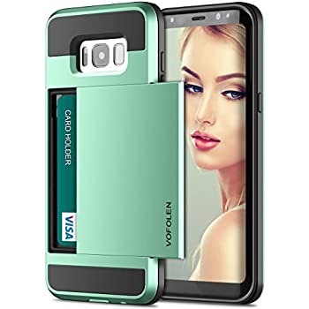 Galaxy S8 Case, Vofolen Card Holder Galaxy S8 Wallet Case ID Credit Card Slot Hidden Pocket Dual Layer Protective Cover Hard Bumper Shell Rugged Hybrid Protector Armor Case for Galaxy S8 - Mint