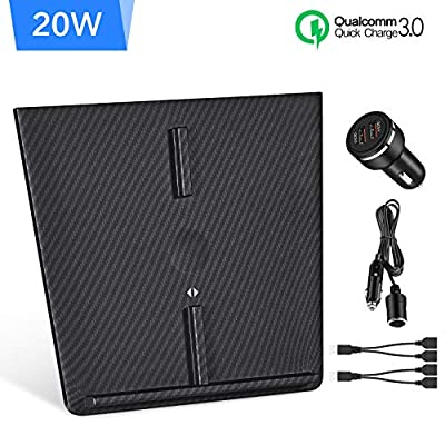 LAUMOX Model 3 Wireless Charger, Carbon Fiber 20W Max Dual Wireless Phone Charger with Extra QC3.0 Car Charger and USB Splitters Fit for Tesla Model 3 2017-2019 Custom Upgrade Accessory