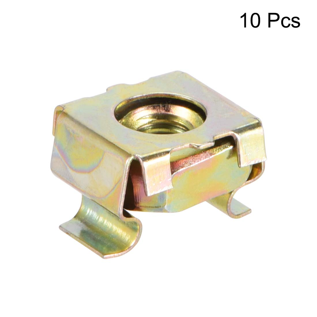 Carbon Steel Yellow Zinc Plated Pack of 10 uxcell M4 Cage Nuts for Server Rack Cabinet