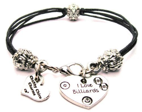 ChubbyChicoCharms I Love Billiards, Pewter Beaded Black Waxed Cotton Cord Bracelet, 2.5