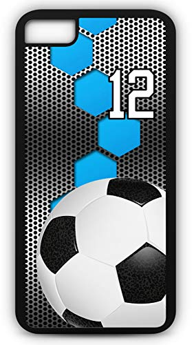 iPhone 8 Plus 8+ Case Soccer SC030Z Choice of Any Personalized Name or Number Tough Phone Case by TYD Designs in Black Plastic and Black Rubber with Team Jersey Number 12 ()