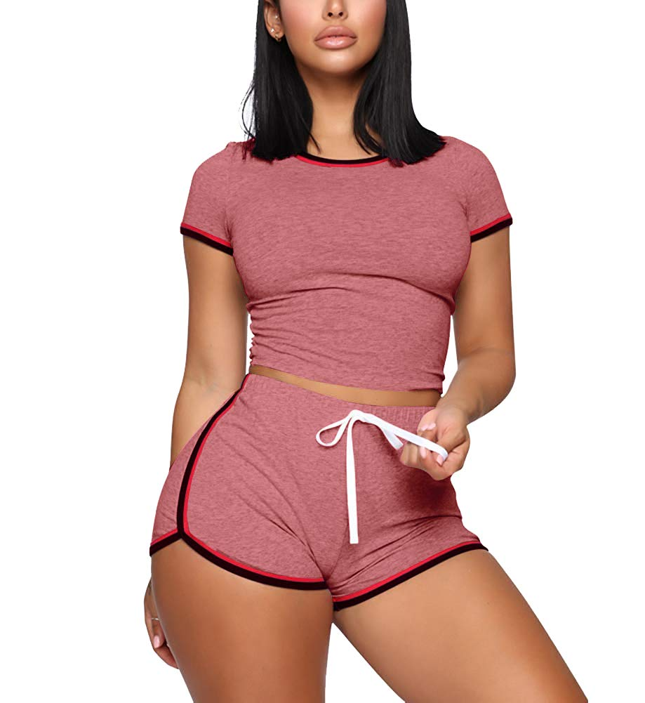 Track Suit for Women Set - Sexy Short Sleeve Crop Tops + Skinny Shorts Tracksuit X-Large Pink by Mojessy