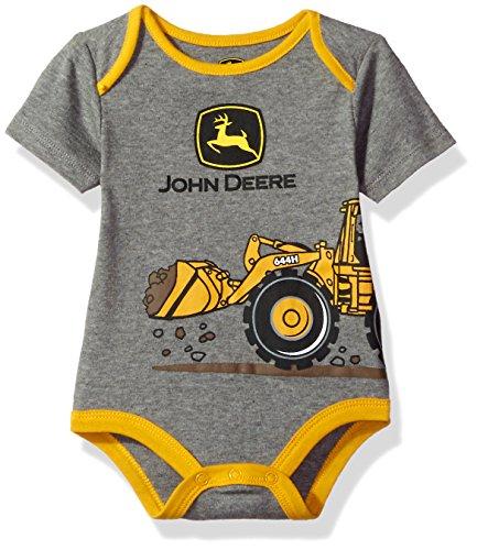 John Deere Baby Boys' Grahpic Bodyshirt, Medium Heather Grey, 3/6M