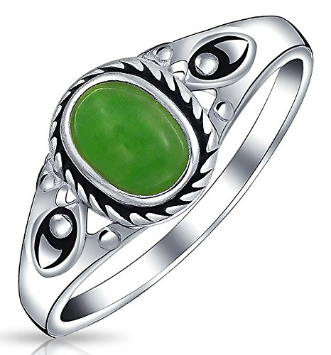- Boho Fashion Bali Style Oval Dyed Green Jade Bezel Filigree Band Ring For Women 925 Sterling Silver August Birthstone
