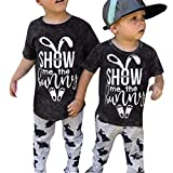 NUWFOR Easter Kids Baby Girl Boy Cartoon Letter Rabbit Print T Shirt Pant 2PC Outfits(Black,18-24 Months)