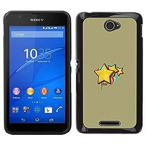 PHONE CASE GIFT Duro Estuche protector PC Cáscara Plástico Carcasa Funda Hard Protective Case for Sony Xperia E4/Cute Stars & Rainbow/