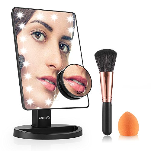 Easehold Lighted Makeup Vanity Mirror with 10X Magnification Mirror Bonus Beauty Brush and Sponge Set (Black) - Life Light Foundations
