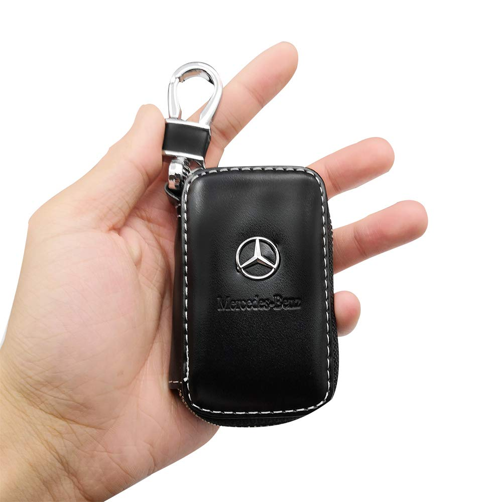 VILLSION 2Pack Genuine PU Leather Car Logo Key Chain Case with Leather Keychain Car Key Holder for Ford