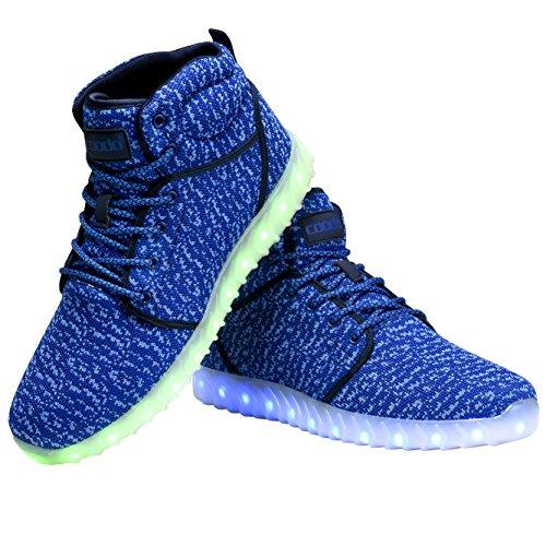 COODO Männer Frauen Kinder LED Schuhe 7-Color-Lights USB Lade leuchten Sneakers 3-blau