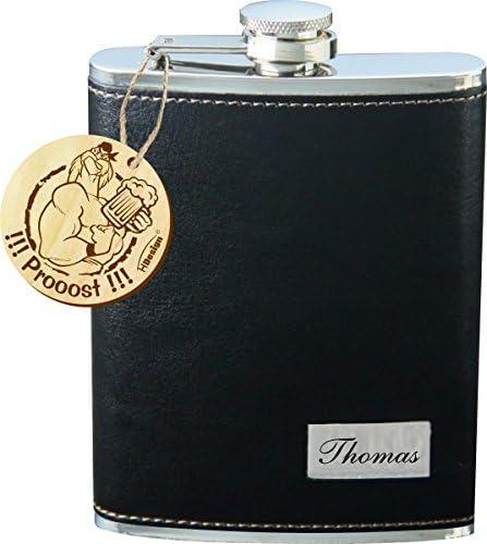 Sehr schöner Flachmann mit Lederummantelung schwarz inkl. Wunschgravur, Wunschtext, Namen